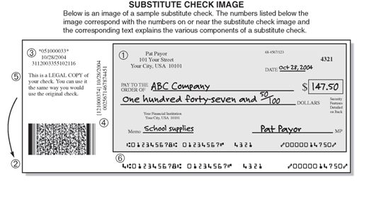 Figure 1 - An example of a substitue check